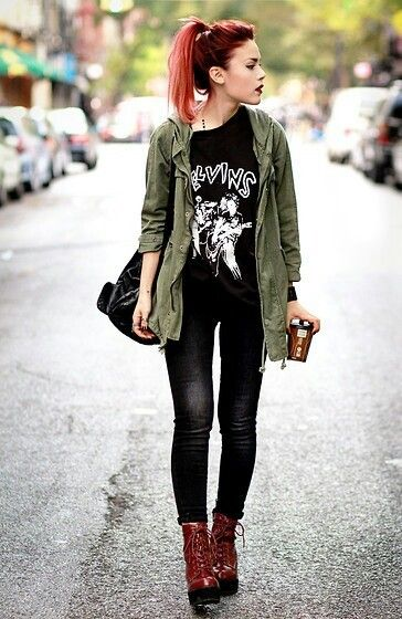 utility jacket + graphic tee + leather leggings + combat boots