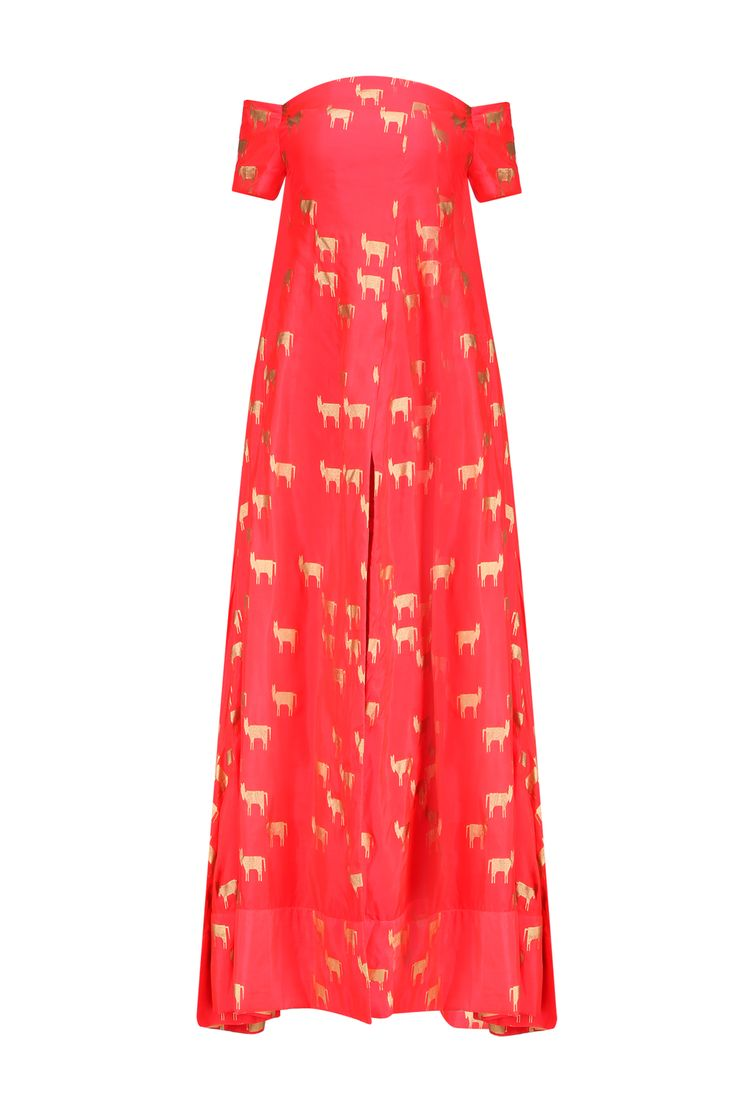 Masaba Red horse printed kurta, gold moor pants and offwhite choker dupatta available only at Pernia's Pop Up Shop.