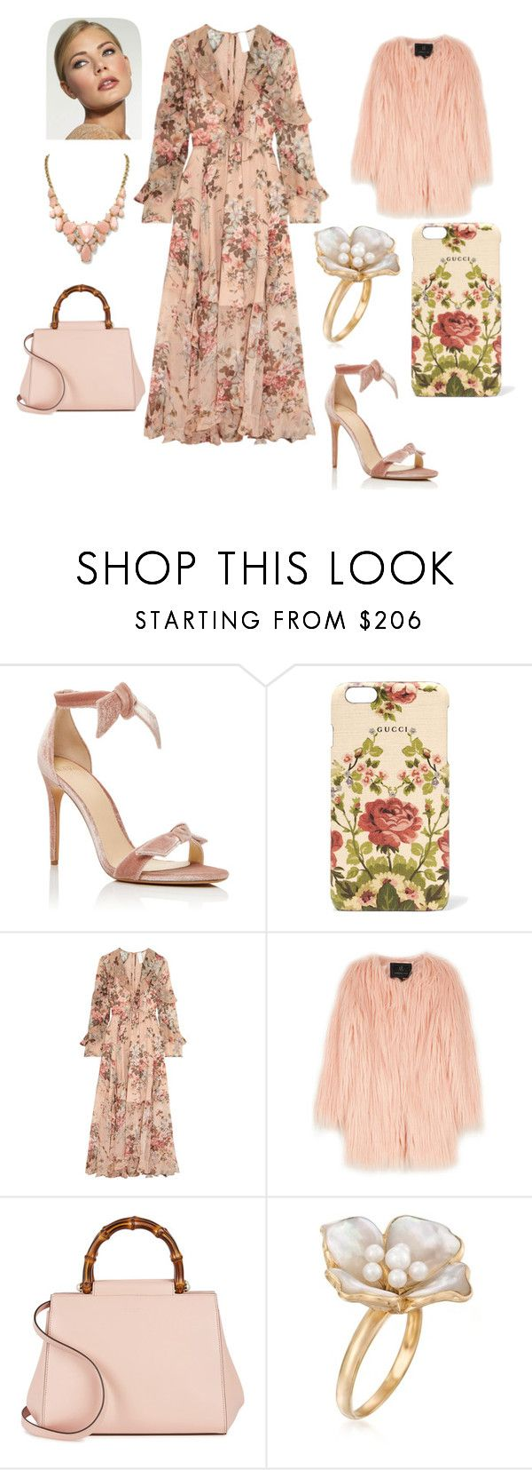 """springtime in nudes and pinks"" by when-wear-what ❤ liked on Polyvore featuring Alexandre Birman, Gucci, Zimmermann, Unreal Fur and Ross-Simons"