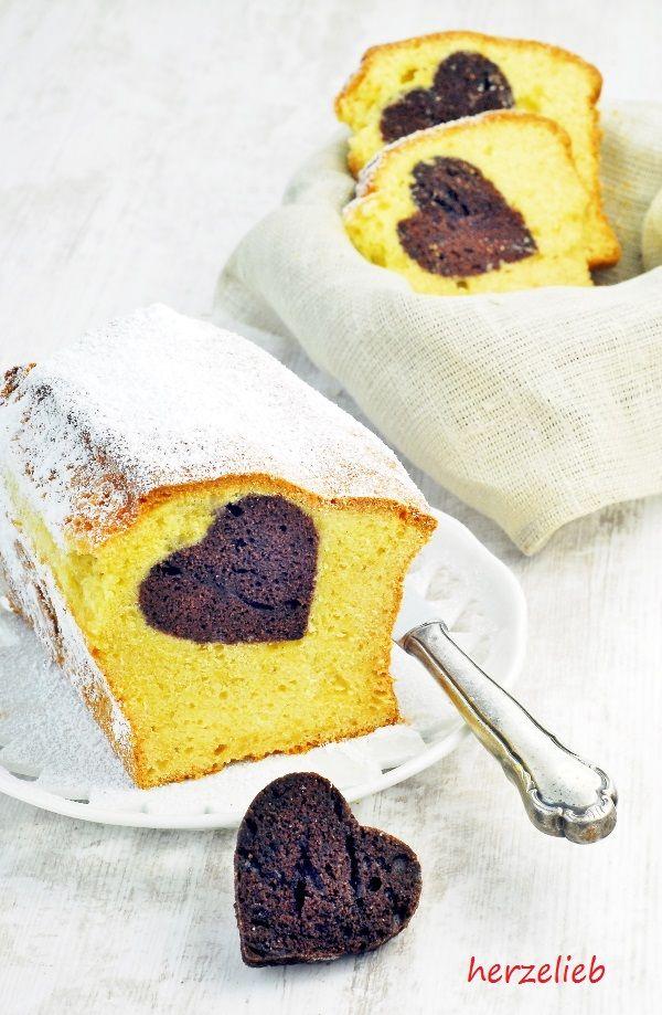 Herzkuchen - statt Marmorkuchen.  Einfaches Rezept und ein wenig Aufwand  Rezept: http://herzelieb.de