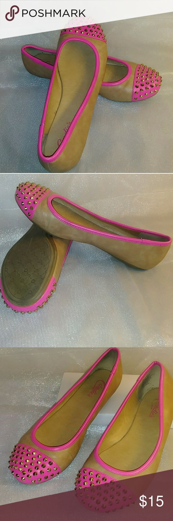 Candies Cakendall Studded Multi Colored Flats Women's Candies Cakendall Pink and Camel colored Ballet Flats with Studded Toes. These Adorable Flats give a Great POP of color to nearly any outfit. In very Good Pre-owned Condition. Candie's Shoes Flats & Loafers