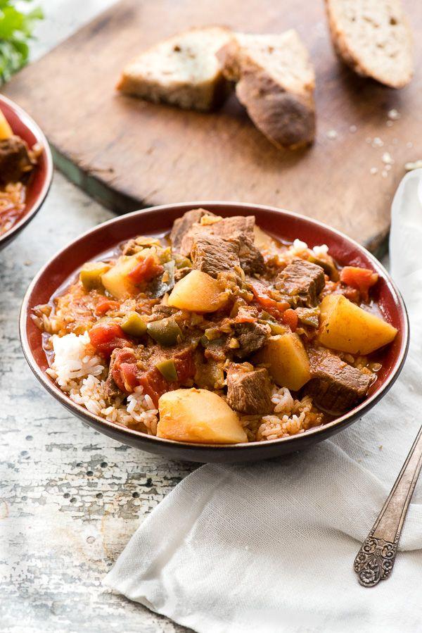 Instant Pot Cuban Beef Stew recipe (Carne con Papas) gluten-free. Tender beef ch…