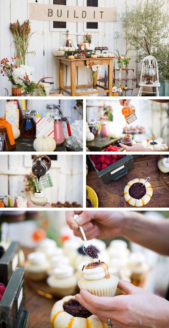 Gorgeous toppings bar: syrups in vintage pitchers, lovely little candies and interesting sprinkles. Topping choices can make all the difference in a wedding cupcake bar and a child's birthday cupcake bar.