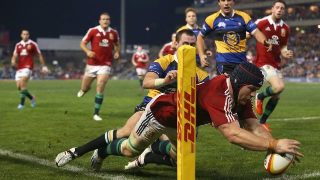Sean O'Brien in action for the Lions against Combined Country #lions #rugby