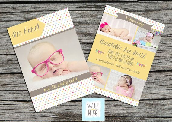 Birth Announcement Template  5x7 girl birth by sweetlittlemuse,