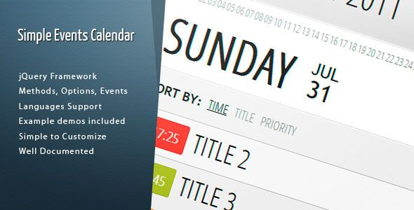 Simple Events Calendar JS  #codecanyon