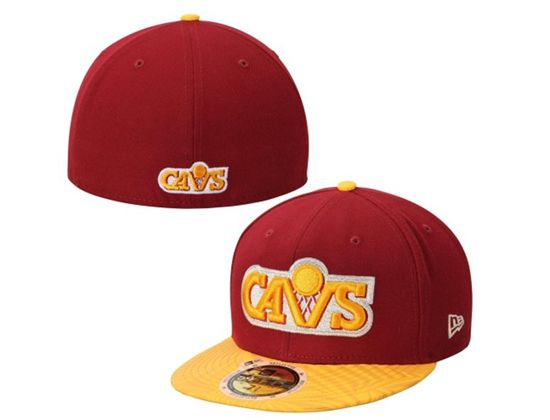 Cleveland Cavaliers Wine-Gold Trance Print HWC 59Fifty Fitted Baseball Cap by NEW ERA x NBA