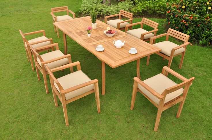 "*Clearance* 9 Pc Grade-A Teak Wood Dining Set - 94"" Rectangle Table and 8 Montana Stacking Arm Chairs #WFDSMTb. The chairs are stackable for easy storage. You can lengthen the table with minimal effort by simply opening the butterfly leaf extensions. Add Sunbrella Fabric Custom Made Cushions By Searching ""WholesaleTeakFurniture Dining Cushion"". Table Dimension: Approx.71"" L (without extension) and 94"" L (with extension), 40"" W , 29 1/2"" H. Chair Dimension: 25"" Width x 22"" Depth x 31"" Height."