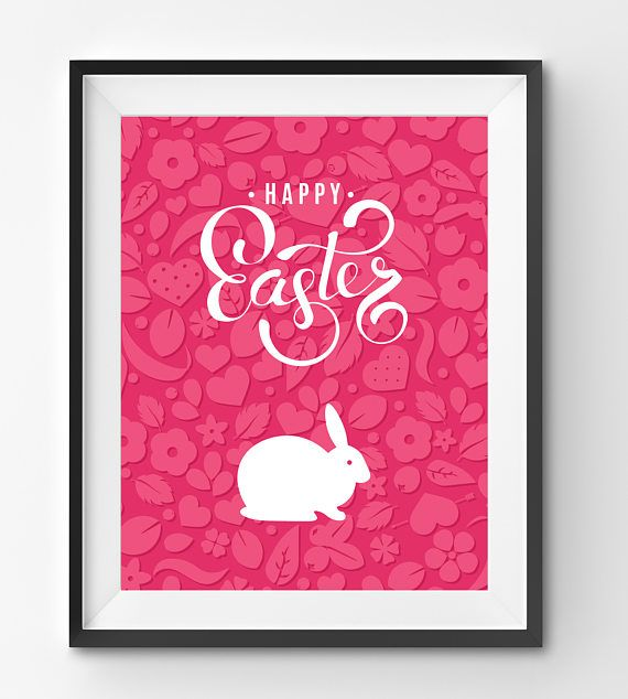 Happy Easter Typography Print with White Bunny in Pink Floral