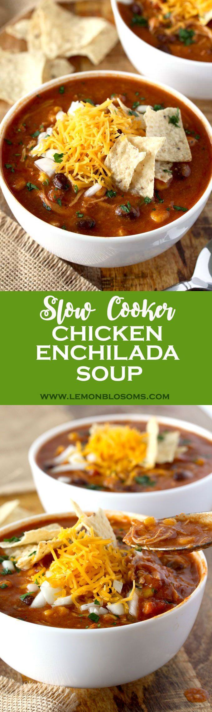 This Slow Cooker Chicken Enchilada Soup is bursting with flavor! Cheesy, creamy and full of shredded chicken, black beans and corn. With only 10 minutes of prep time this soup is pure comfort in a bowl! #slowcooker #crockpot #enchiladasoup #chickenenchilada #soup #comfortfood