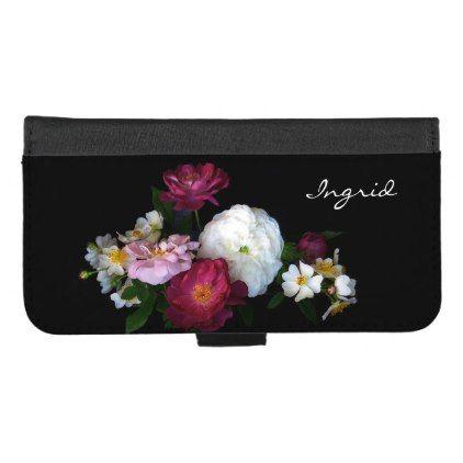 Antique Rose Flowers iPhone 8/7 Plus Wallet Case - black gifts unique cool diy customize personalize