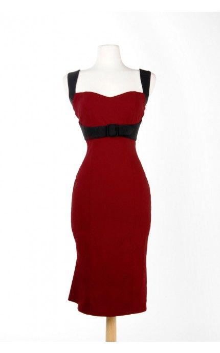 Bought this for myself for Valentines Day. LOVE IT.  Jessica Dress in Burgundy with Black Trim | Pinup Girl Clothing