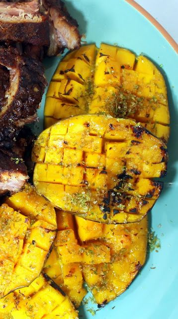 Grilled Mango - Sweet, Lime and Spice!  This was such a huge hit at my backyard BBQ.  Unusual exotic ingredient, tropical flavors, spiced with just a pinch of heat.  Grilling for just a few minutes brings out the natural sweetness and sugars in Mango to make this super sweet. Very popular, everyone wanted to try and everyone raved!
