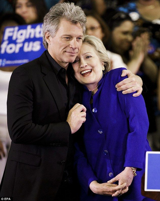 Rocker Jon Bon Jovi (left) introduced his friend of 20 years, Hillary Clinton (right) at her sole campaign rally in New Jersey today - before she heads to California to stave off gains made by rival Bernie Sanders