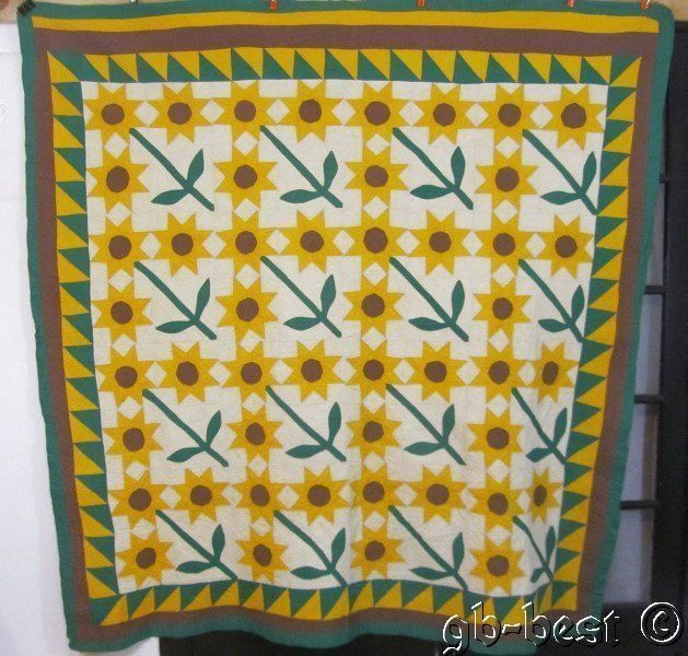 Spectacular 30s Sunflower Antique Quilt 82 x 76 Yellow Green Brown Sawtooth | eBay
