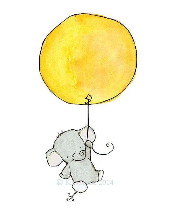 Elefant Kunst, Dschungel Kinderzimmer Dekor, Elefant Ballon, Wandtattoo, Kit Chase Artwork