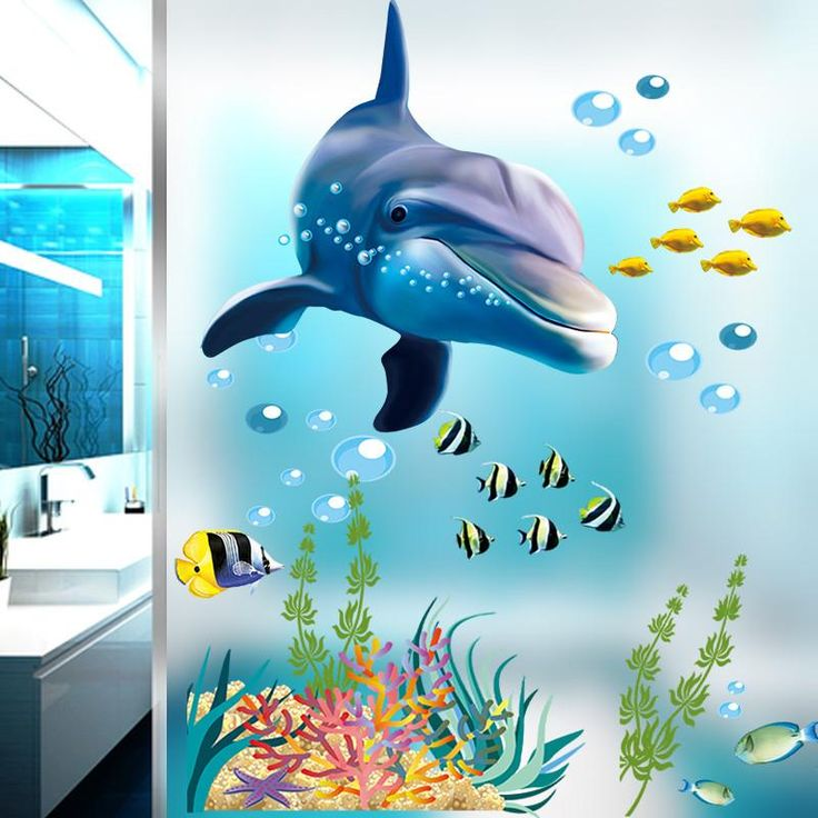 underwater world dolphin sea coral fish wall stickers for kids room home decoration mural art decals 3d posters children gift