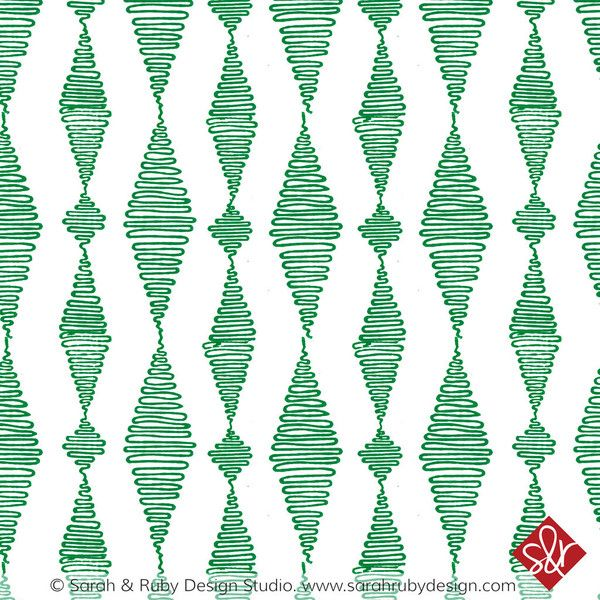 Go with the Flow in Jade | Hand-block printed wallpaper by Sarah & Ruby | www.sarahrubydesign.com