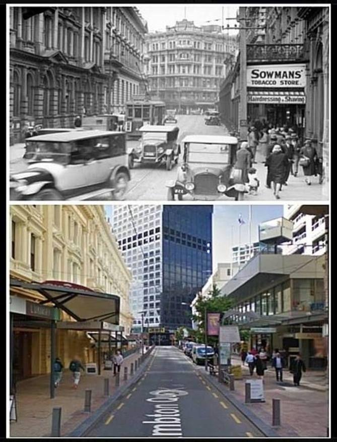 Lambton Quay, looking towards Featherston & WIllis Streets, 1920s & 2016 Old Wellington Region 25 Oct 2016