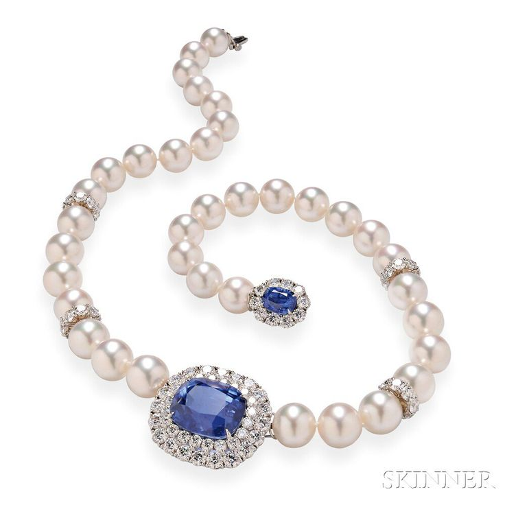 Fine Classic Ceylon Sapphire, South Sea Pearl, and Diamond Necklace, Cartier, the pendant set with a 28 carat cushion-cut sapphire, framed by full-cut diamonds, suspended from a necklace of South Sea pearls with diamond rondels, and completed by a sapphire and diamond clasp, diamonds ~ 13.50 carats.