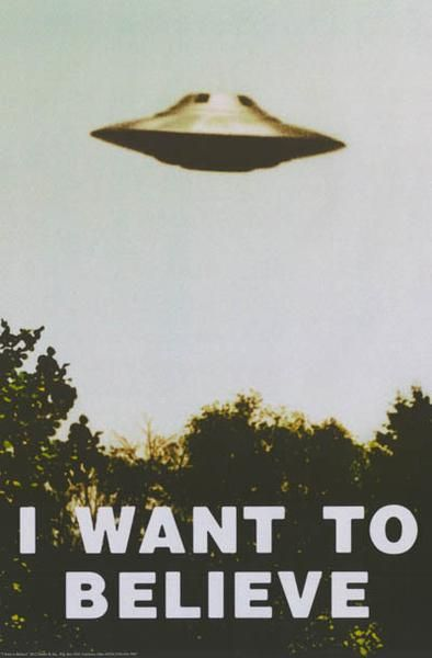 Don't be afraid to Believe! An awesome UFO poster - just like the one in Fox Mulder's office on the X-Files! Fully licensed. Ships fast. 24x36 inches. The Truth