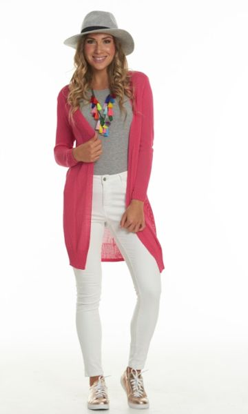 Charlo Lilly Cardi (Pink) Knitted Cardi in Dark Pink.