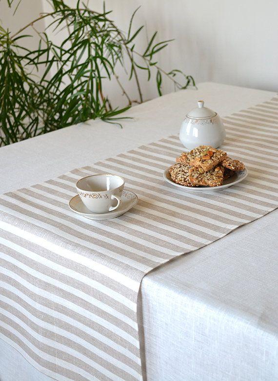 Striped Table Runner Wedding Table Decor Tan by LinenLifeIdeas