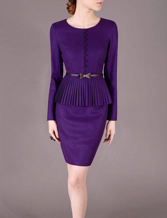 Purple Peplum Dress Wool Slim Outfits Winter Long Sleeve Office Wear Elegant Formal Ceremony Working Dresses Vintage Clothing J40