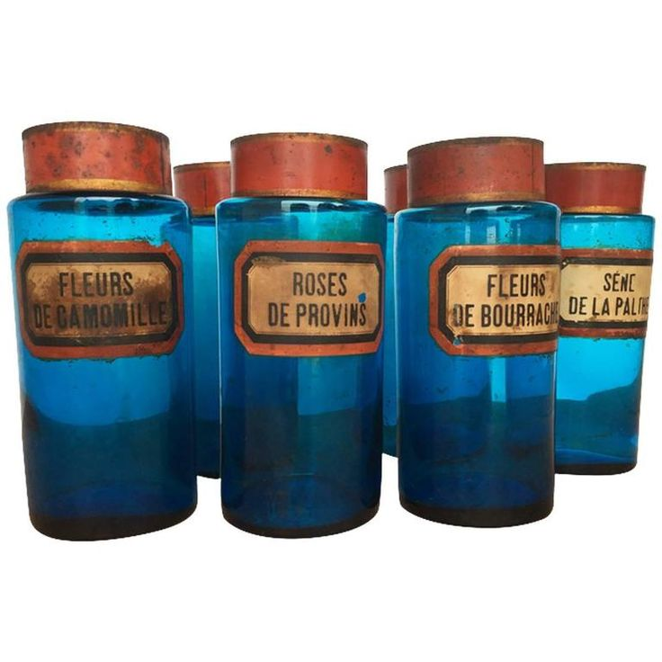 Set of Six Vintage French Blue Glass Apothecary Jars 1