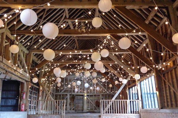 Festoon light canopy for a barn wedding