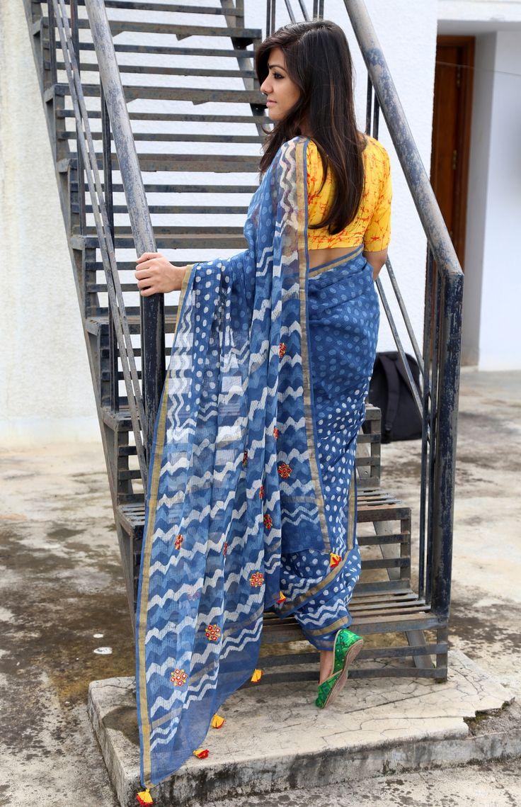 Indigo kota embroidered sari / saree.. yellow batik blouse.. handloom love @hathkargha Ethnic Indian Fashion via @sunjayjk