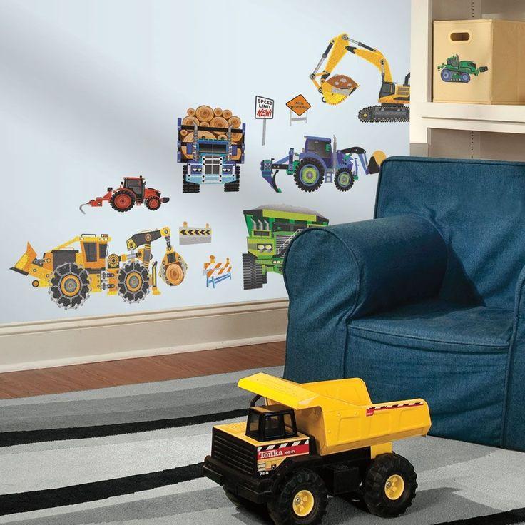 Samolepící dekory pro dětský pokojíček chlapečků. Dekorační samolepky Auta - těžká technika. Inspirace a dekorace pro dětský pokoj.