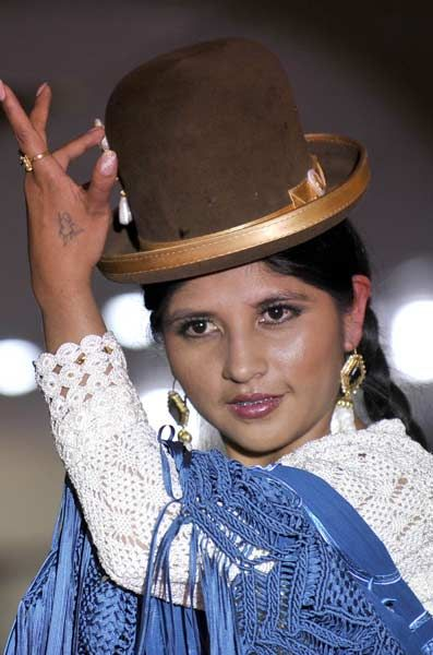 An indigenous Bolivian Aymara woman takes part in a fashion show in La Paz.