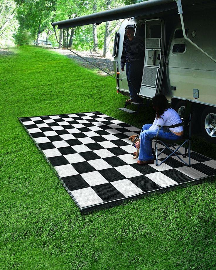 Camco 42827 Reversible Outdoor Mat (9' x 12', Checkered) #Camco