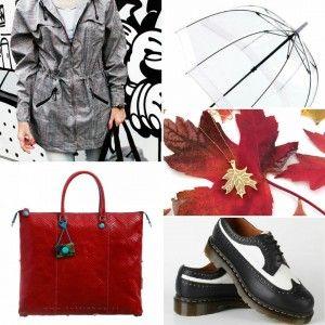 Outfit sportivo: Parka scottish di H2O, ombrello trasparente, borsa Gabs in pelle, stringate Dr Martens, ciondolo plexiglass e metallo a foglia autunnale di lilianadesign su etsy.com