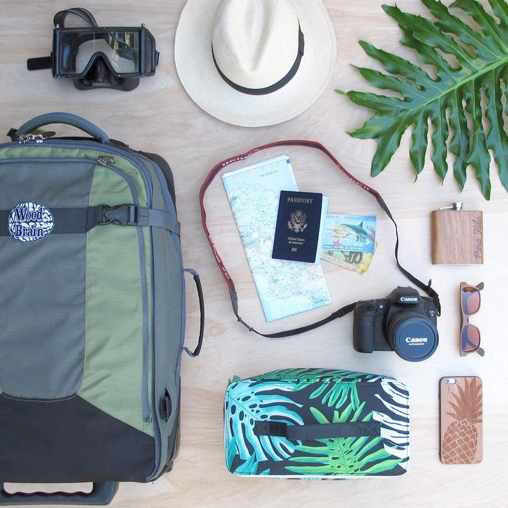 Getting packed and ready for a month long adventure to Costa Rica. #travel #costarica #puravida #packed #ready #camera #bag #passport #woodflask #adventure #map #snorkel #junglelife #wood_brain #flatlay