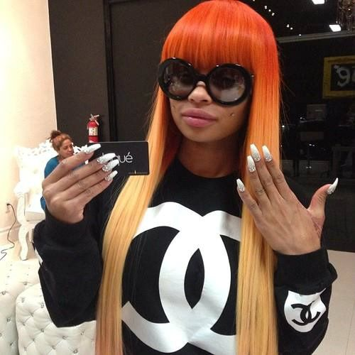 Orange ombre hair, colorful hair, two toned hair, hair color - Top 25+ Best Blac Chyna Without Makeup Ideas On Pinterest Blac