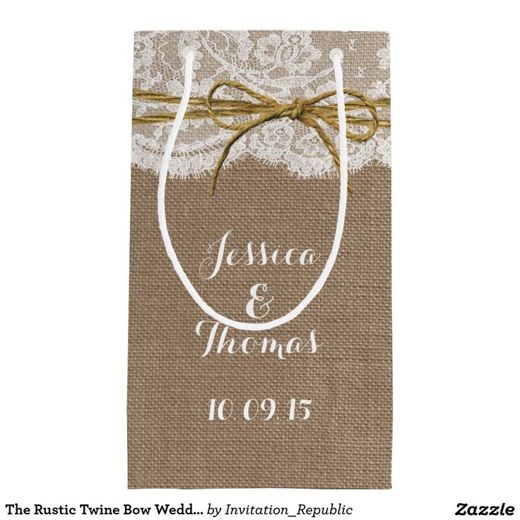 zazzle wedding invitations promo code%0A The Rustic Twine Bow Wedding Collection Gift Bags