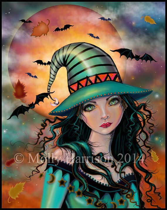 SALE!  The Jade Witch - New Digital Painting by Molly Harrison Fantasy Art - Halloween Moon Bats Witches
