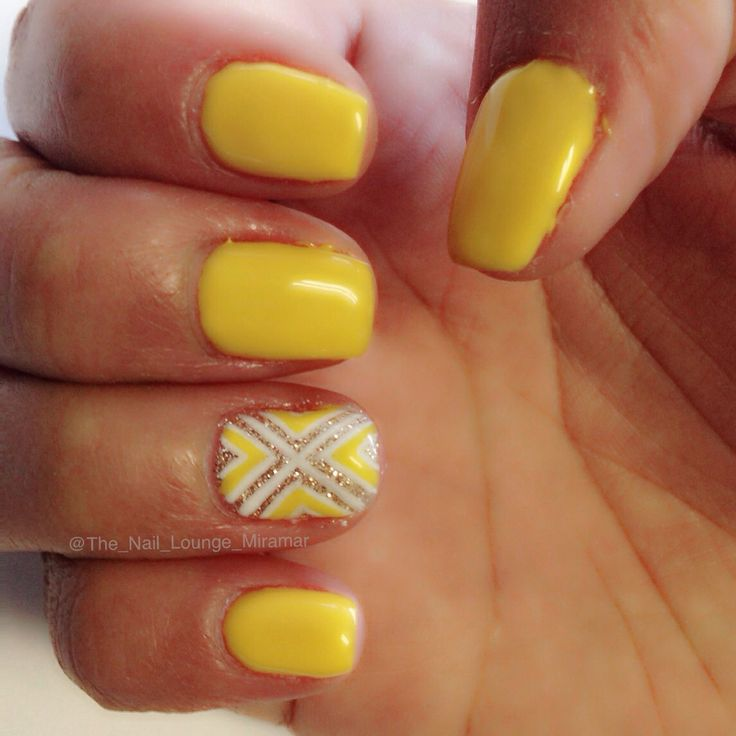 Yellow nail art design