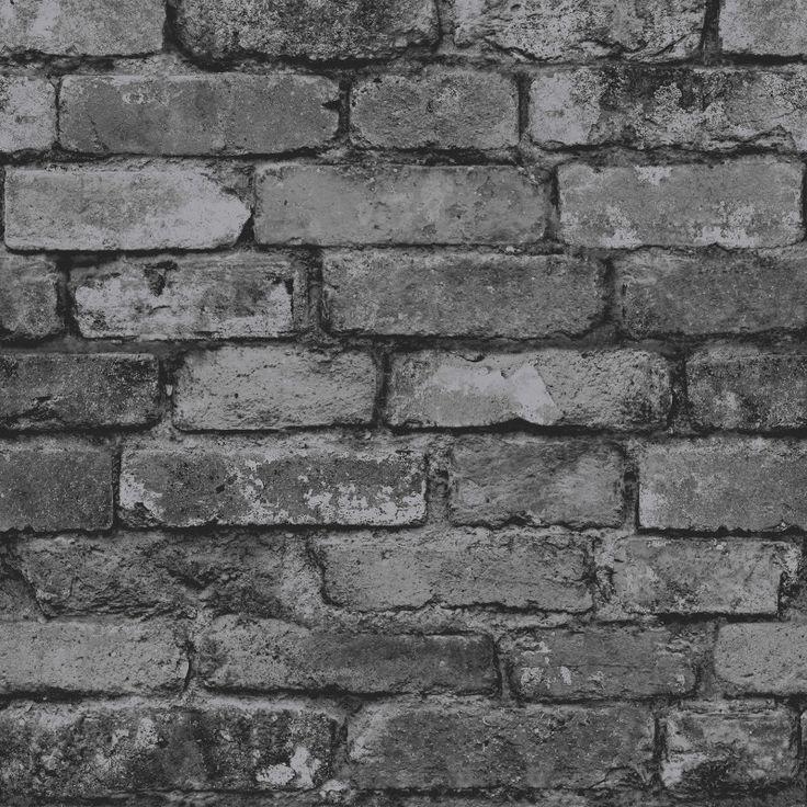 Fine Decor Rustic Brick Wallpaper - Black, Grey and Silver - http://godecorating.co.uk/fine-decor-rustic-brick-wallpaper-black-grey-silver-2/