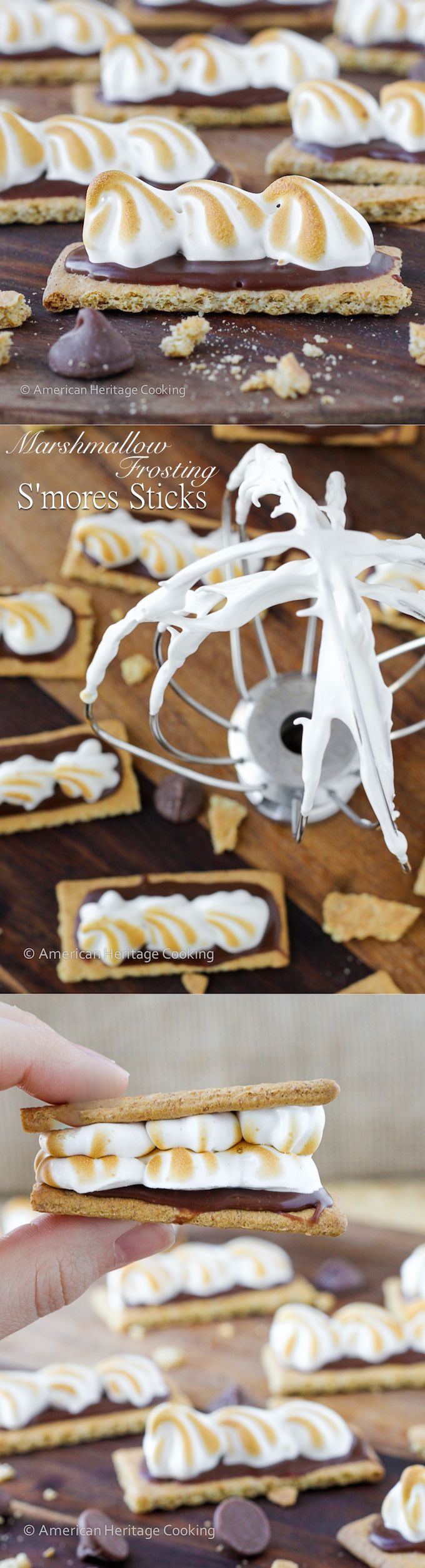 Homemade Marshmallow Frosting Smores Sticks | An easy, gelatin-free, recipe for marshmallow frosting and adorable, bite-sized S'mores snacks!