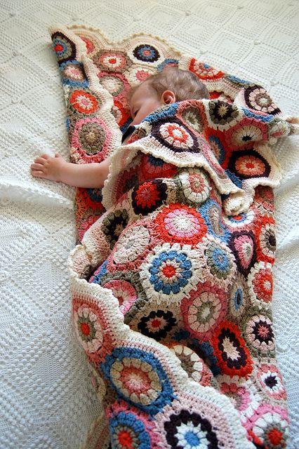 crochet blanket w/baby
