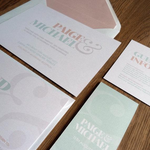Wedding Invitation Suite Vogue Wedding Range by TheLovePaperCo. £3.00, via Etsy.