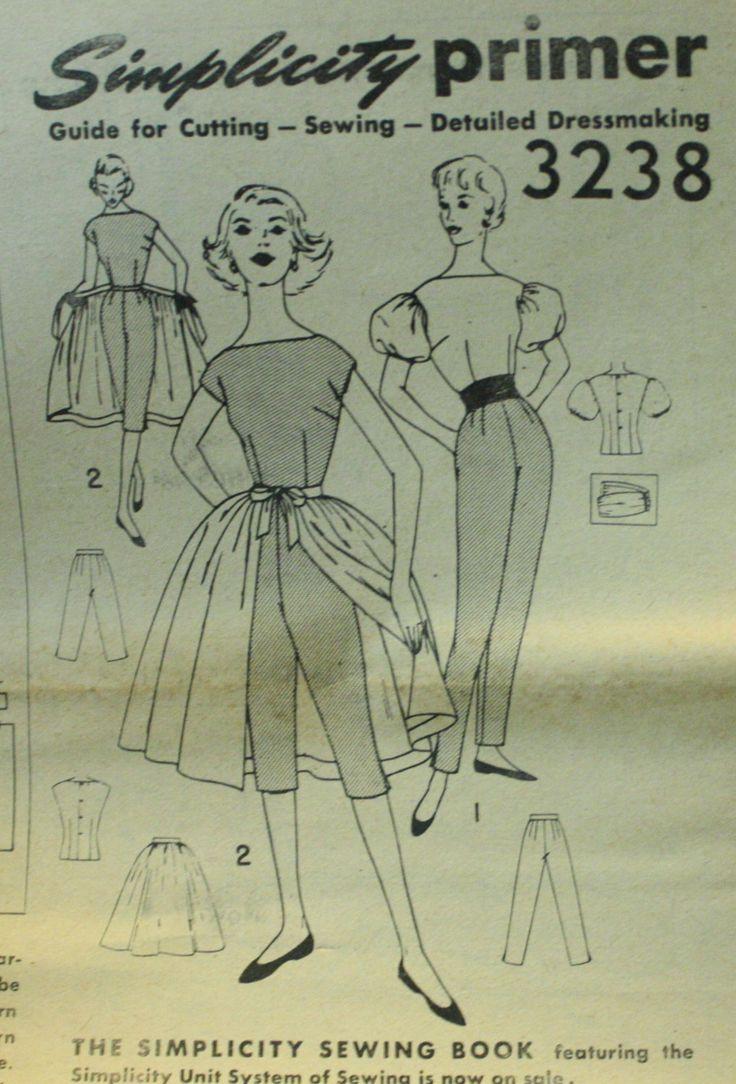 Simplicity 3238 blouse, slim pants, capris, & skirt