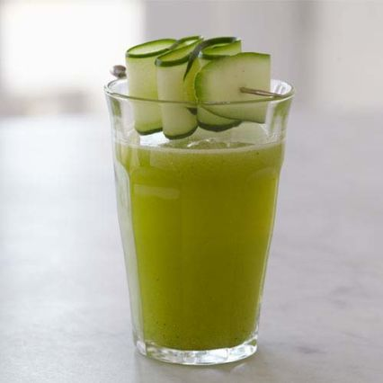 Mean Green Juice   Sur La Table via Joe Cross - I like the cucumber ribbon garnish too