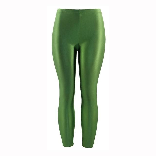 c61d4db3b0c 21 Colors Plus Size Fluorescent Color Women Leggings Elastic Leggings  Spandex Multicolor Shiny Glossy Leggins Trousers