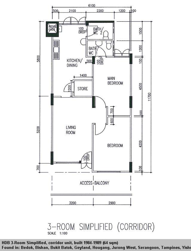 Hdb 3 Room Flat: HDB 3-Room Simplified Flat (64 Sqm) In 2020