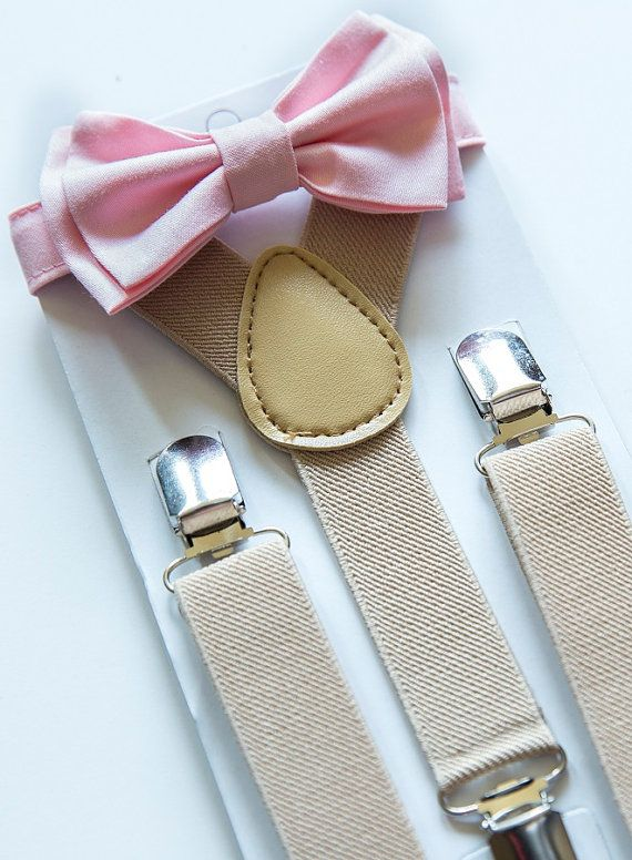 Suspenders and Bow Tie Set -- Tan Suspenders -- Blush Pink Bow Tie -- Ring Bearer Outfit. SHIPS SAME DAY!**