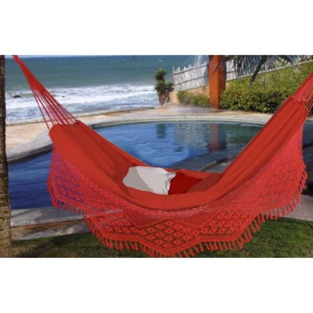 Large Caliente Brazilian Hammock with Fringe - Hammocks at Hayneedle